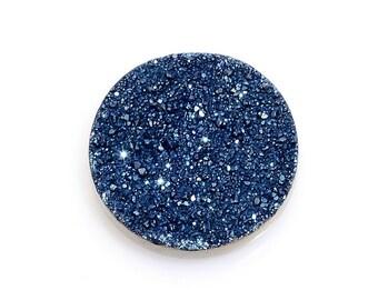 Blue Drusy Quartz Round Cabochon Loose Gemstone 1A Quality 14mm TGW 3.85 cts.