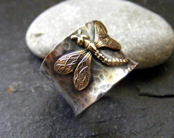 Silver wide band Dragonfly Hammered Rustic Ring