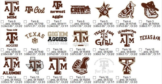 Texas Aggie Embroidery Designs