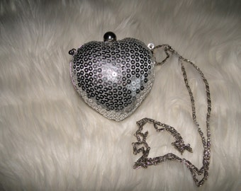 Vintage Purse with Silver Sequins in a Heart Shape