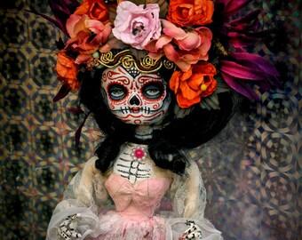 Beautiful Mortal Floral Tattooed Dia De Los Muertos Doll canon PRINT 412 Reproduction by Michael brown