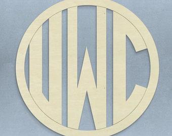 """19"""" Unfinished Custom Circle Wood Monogram"""