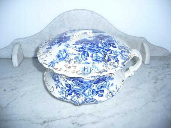 Antique bidet pot de chambre porcelain transfer ware - Pot de chambre antique ...