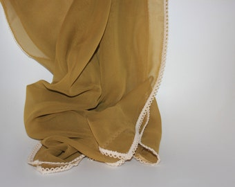 Olive Chiffon Runner with Scallop Trim