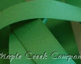 """5 yards Emerald Green Grosgrain Ribbon, 4 Widths Available: 1 1/2"""", 7/8"""", 5/8"""", 3/8"""""""