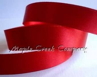 "5 yards of Red Satin Single Face Ribbon, 2 Widths Available: 5/8"" or 3/8"""