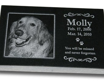 "Standard Pet Grave Marker Headstone (Medium 10"" x 6"" x 1"") for Dogs & Cats"