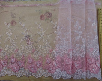 Lace trim Pink Floral Embroidered Lace Trim DIY Handmade Accessory  7.46 inches wide. 2 yards A-0513