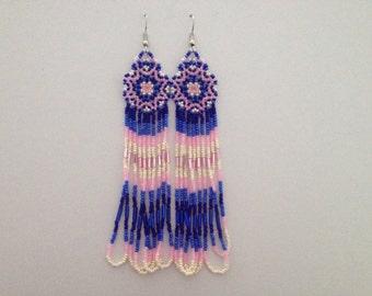 Extra Long Handmade Native American Beaded Earrings