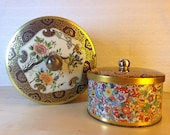 MOVING SALE Vintage English Floral Tin Bucket & Coordinating Tin, England, gold, flowers