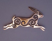 Large Rabbit Brooch or Pendant in Bronze