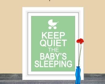 Keep Quiet the Baby's Sleeping, Home Decor, Printable Wall Art, Baby Room, Keep Quiet, Keep Calm Poster, Nursery Printable, Baby's Sleeping