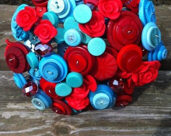 Button Bouquet - Retro Red and Turquoise