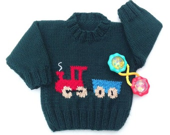 Train motif sweater - 6 to 12 months - Knit train jumper - Baby boys clothing - Infant green train sweater