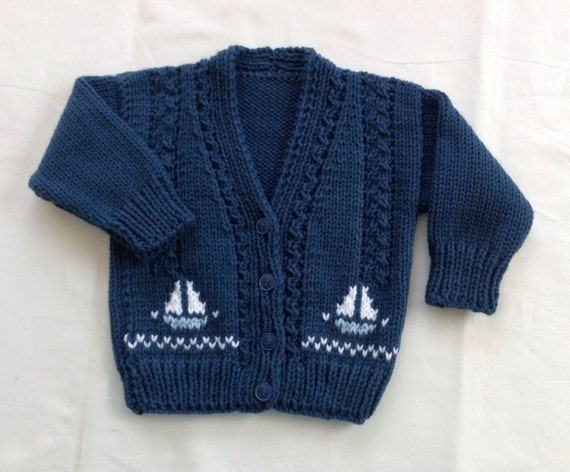Baby knit cardigan with sailboat motifs 6 to 12 months