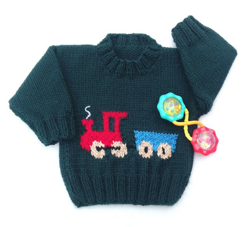 Knitting Pattern Train Sweater : Knit baby sweater 6 to 12 months Knit train by LurayKnitwear