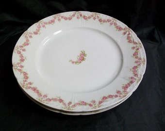 "2 Charles Field Haviland Bread & butter plates 6.5 "" diameter  garlands of  pink flowers"
