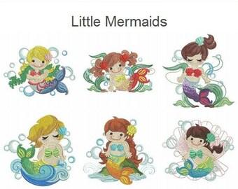 Little Mermaids Cute Girl Baby Cartoon Machine Embroidery Designs Pack ...