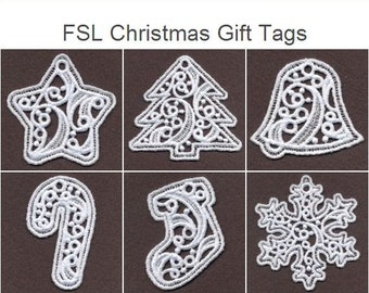 FSL Christmas Gift Tags Free Standing Lace Machine Embroidery Designs Instant Download 4x4 hoop 10 designs APE1890