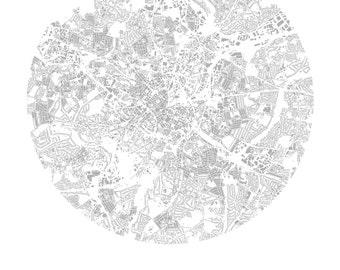 Birmingham city centre urban art buildings only print - 42cm x 29.7mm - Bull Ring, New Street Station