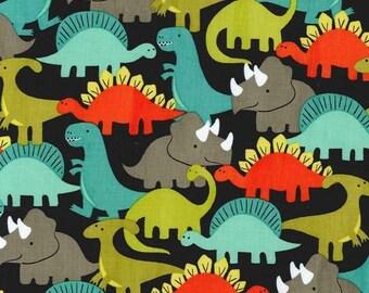 Dino-Mites Retro Fabric by Michael Miller Gray Orange Turquoise Green Dinosaurs
