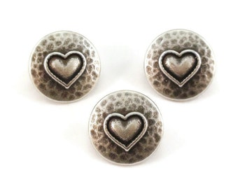 Heart Metal Buttons 16mm Hammered Style Qty 3
