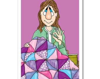Quilting Birthday Card, Funny Birthday Card, woman quilting, quilt making, birthday card for woman, colorful quilt, sewing birthday card