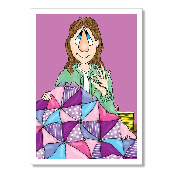 Quilting Birthday Card Funny Woman