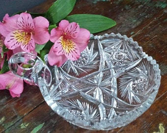 Vintage Brillant Cut Glass Dish ~ a vintage item brought to you by Vintage Chaos ~