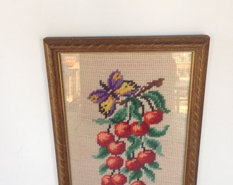 CLEARANCE! - Vintage Framed Cherries and Butterfly Needlepoint