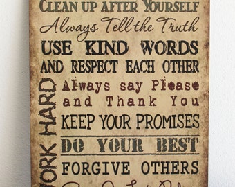 FAMILY RULES Always tell the truth, use kind words Tan Wood Sign Home Wall Decor