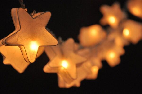 20 White star&bell paper lantern string lights for party