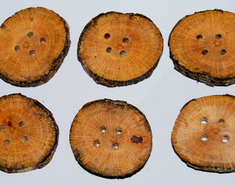 6 wooden buttons 1 inch or 2,5 cm spalted beech rustic woodland style