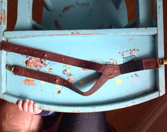 Brown Leather Children Suspenders