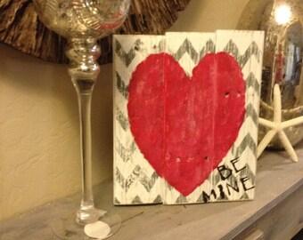Valentines day pallet art be mine
