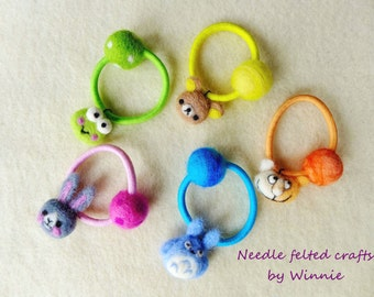 Needle felted hair ties- Bunny, Bear, Cat, Frog, Totoro( Each sold individually)