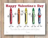 Printable Valentine Card - Kid Valentine - Crayons - Happy Crayons