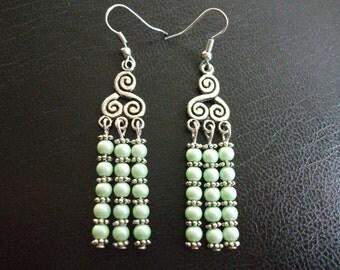 Light minty green chandelier earrings