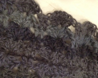 Blue Grey Lace Infinity Scarf ~ Wool Blend