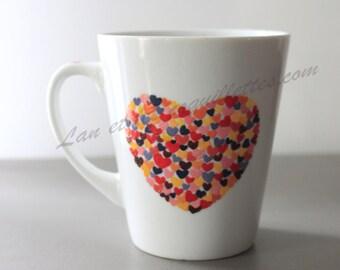 Mug small orange red heart