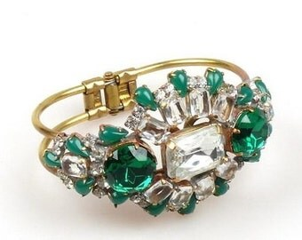 Vintage Clamper Bracelet Open Back with Clear And Green rhinestones