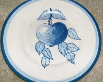 Vintage Original  Dorchester Stoneware Pottery Fruit Pattern Dinner Plate - Peach and Leaves Design