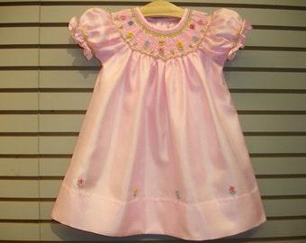 New boutique design hand embroidered bishop smocked dress - Size  3  4  5  6  7  8  Pink