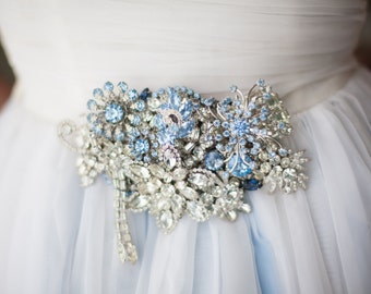 Blue Silver Vintage Bridal Wedding Brooch Sash Belt OOAK