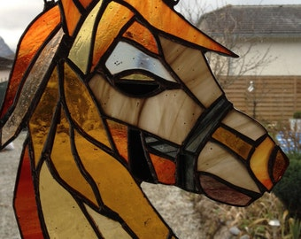 Horse in stained glass head