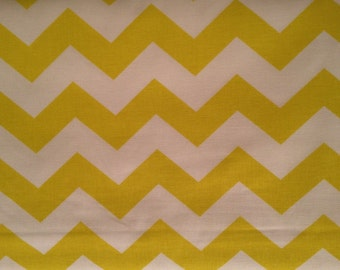 "1"" Chevron Zig Zag Yellow and White by the yard"