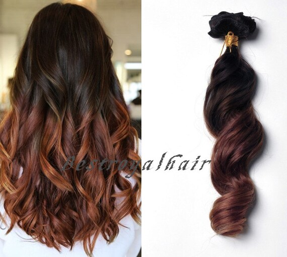 Brown to Auburn Two Colors Ombre Hair Extension by ...
