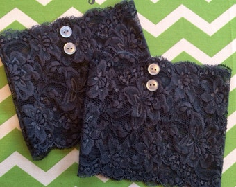 Charcoal Grey Lace Boot Cuffs