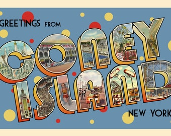 Greetings from Coney Island postcard (vintage 1930s replica)