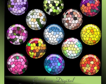 Digital Stained Glass 1inch circle button collage for Instant Download